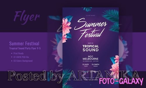 Summer Festival and Tropical Sound PSD Flyer V-5