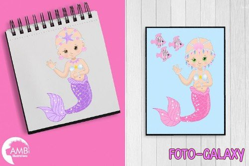 Bald Mermaids Clipart AMB-2173 - 256629