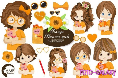 Orange Planner Girls Clipart AMB-2183 - 25663