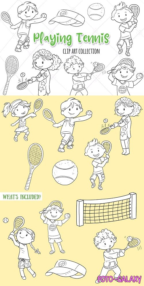 Kids Playing Tennis Black and White - 3760324