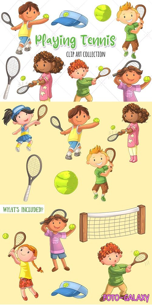 Cute Kids Playing Tennis - 3760323