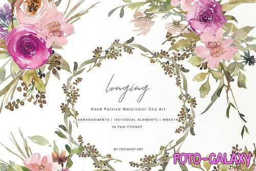 Watercolor Dusty Pink and Purple Flowers Clipart Set 257751