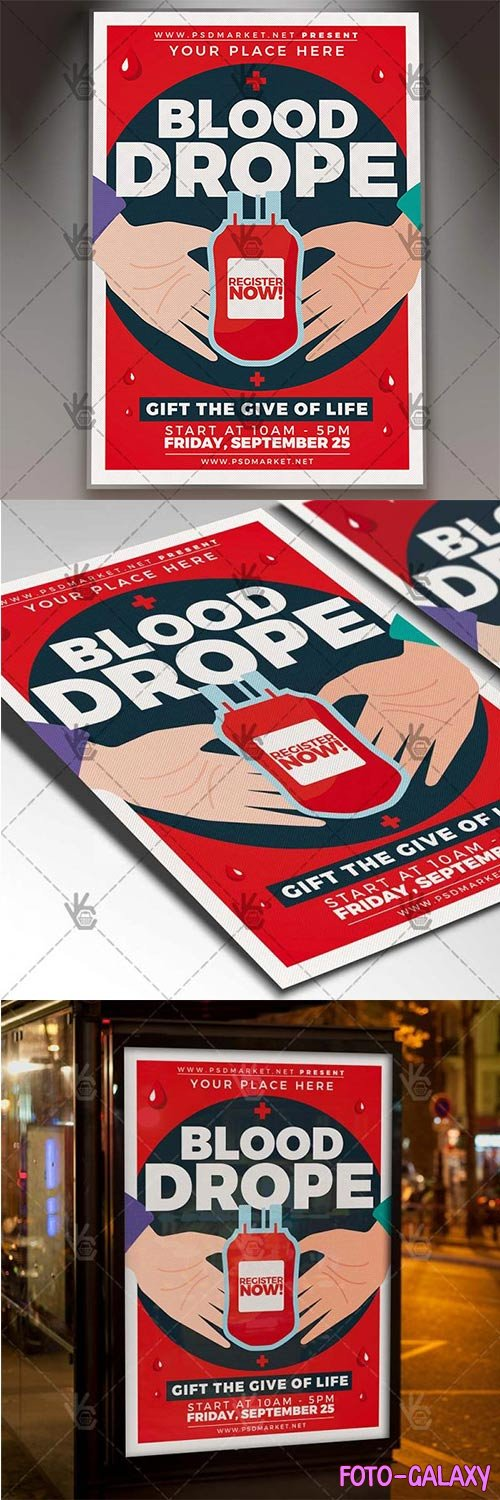 Blood Drope Flyer – Community PSD Template