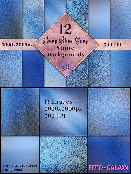 Deep Blue-Grey Stone Backgrounds - 12 Image Textures Set - 257548