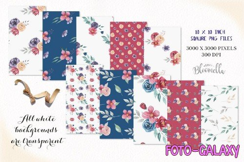 Jewel Watercolor flower Patterns Set - 2640832