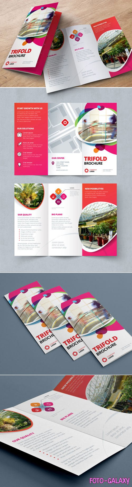 Pink and Red Gradient Trifold Brochure Layout with Abstract Spots 212820437