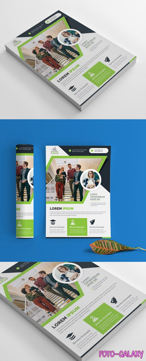 Flyer Layout with Green Elements 266786790