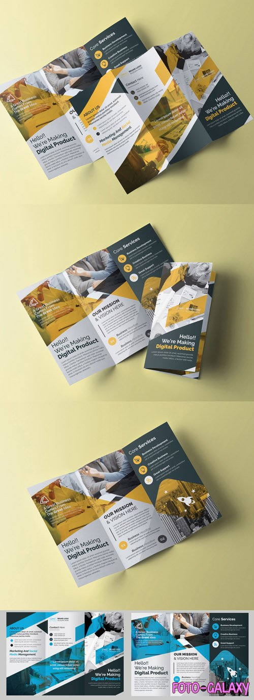 Trifold Brochure Layout with Blue and Yellow Elements 242884143