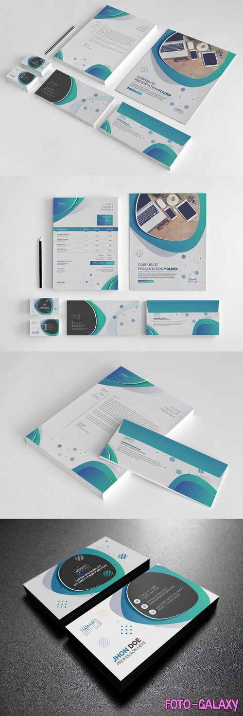 Stationery Set with Green and Blue Circular Accents 242884166