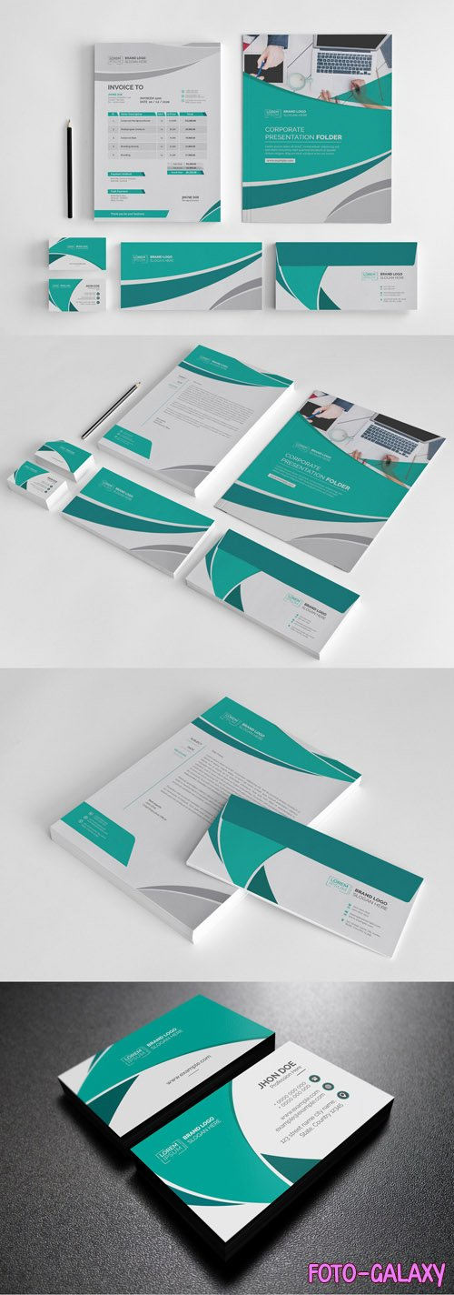 Stationery Set with Blue and Green Accents 242884109