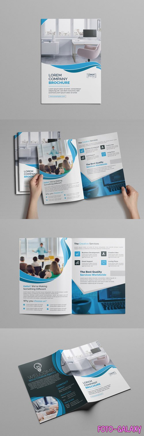 BiFold Brochure Layout with Blue Accents 218080219
