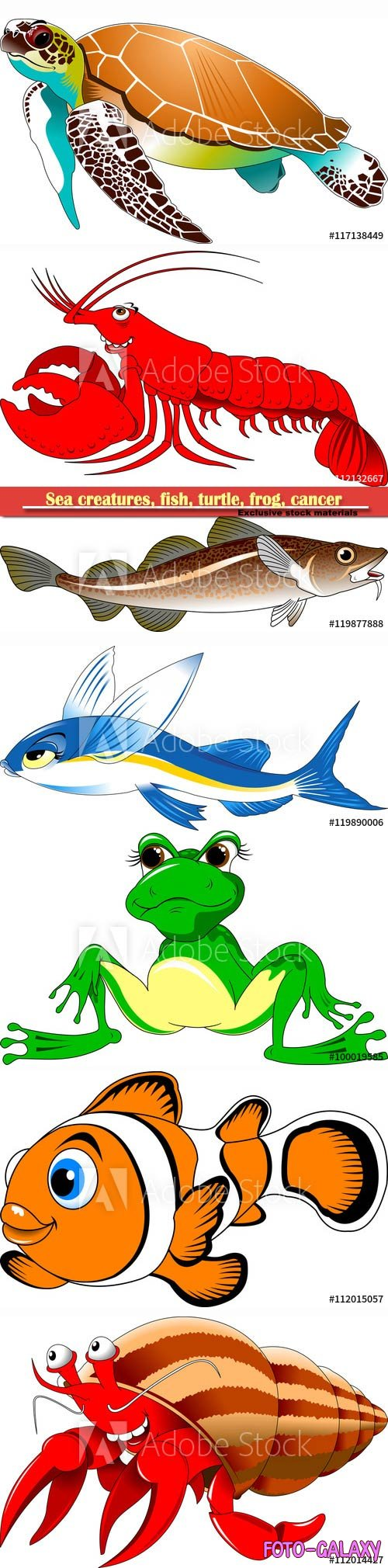 Sea creatures, fish, turtle, frog, cancer