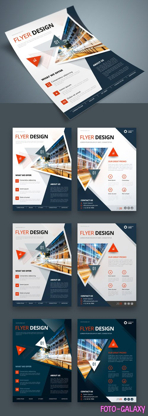 Colorful Business Flyer Layout with Triangle Elements_267840391