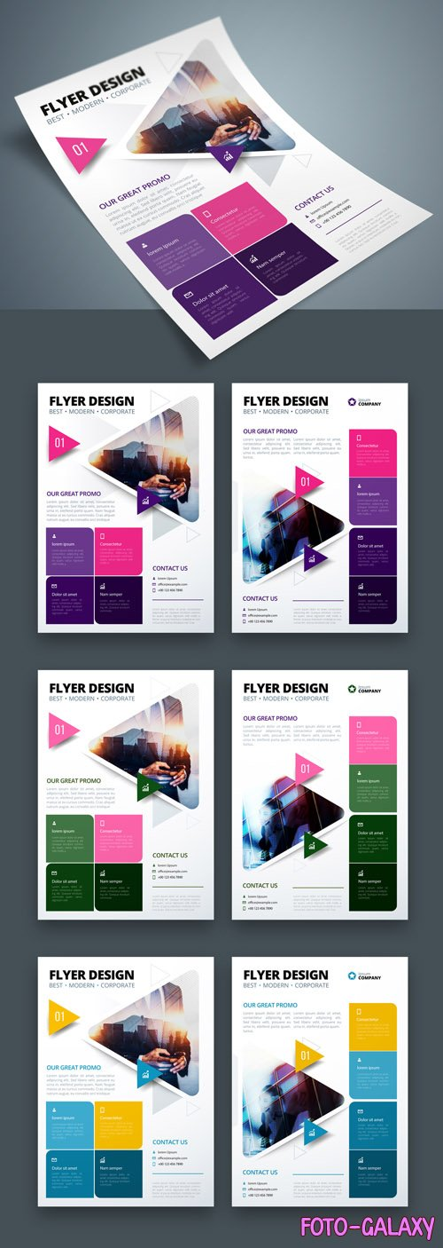 Colorful Business Flyer Layout with Triangle Elements_267840350