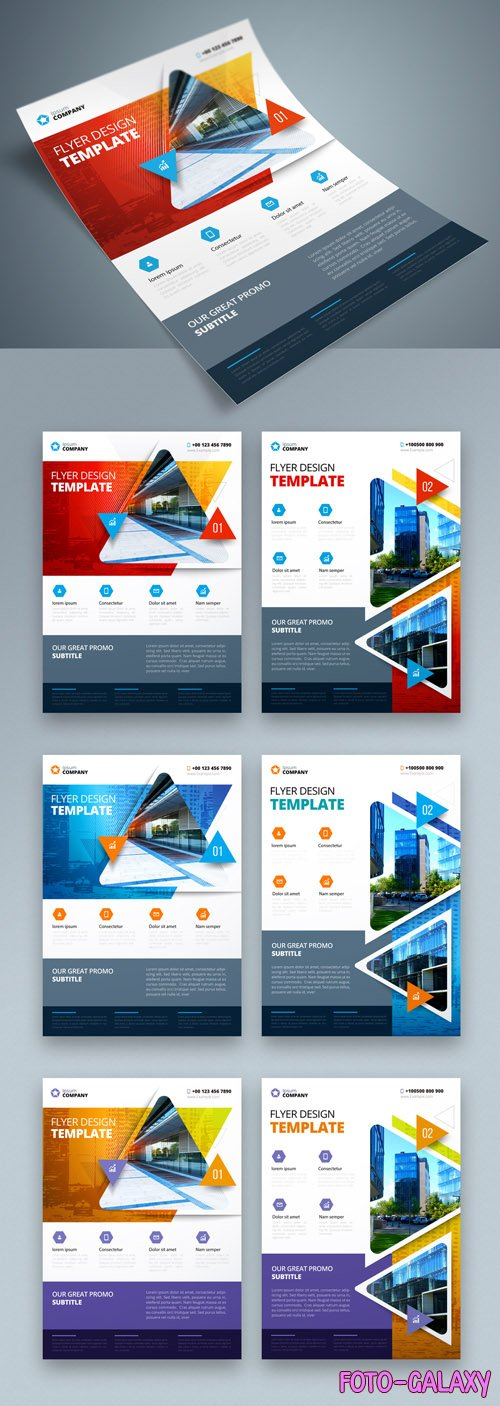 Colorful Business Flyer Layout with Triangle Elements_267840361