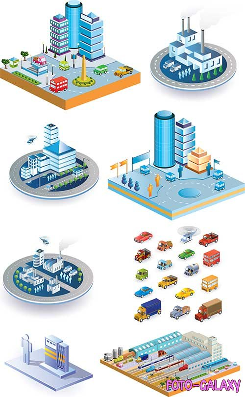 3D station with buildings and transport - Vector clipart