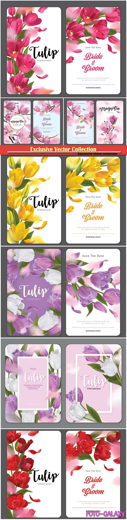 Vector elements set of flowers for wedding invitations card