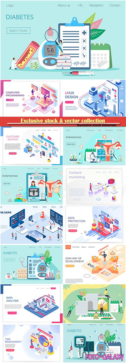 Website page isometric vector illustration, flat banner # 12