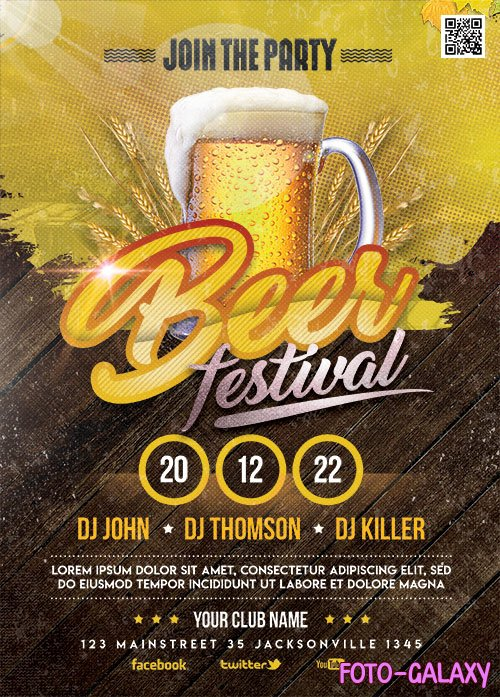Beer Festival Flyer Template PSD
