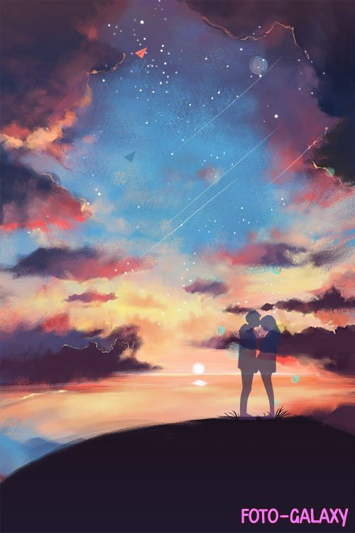 Loving couple on a background of the starry sky