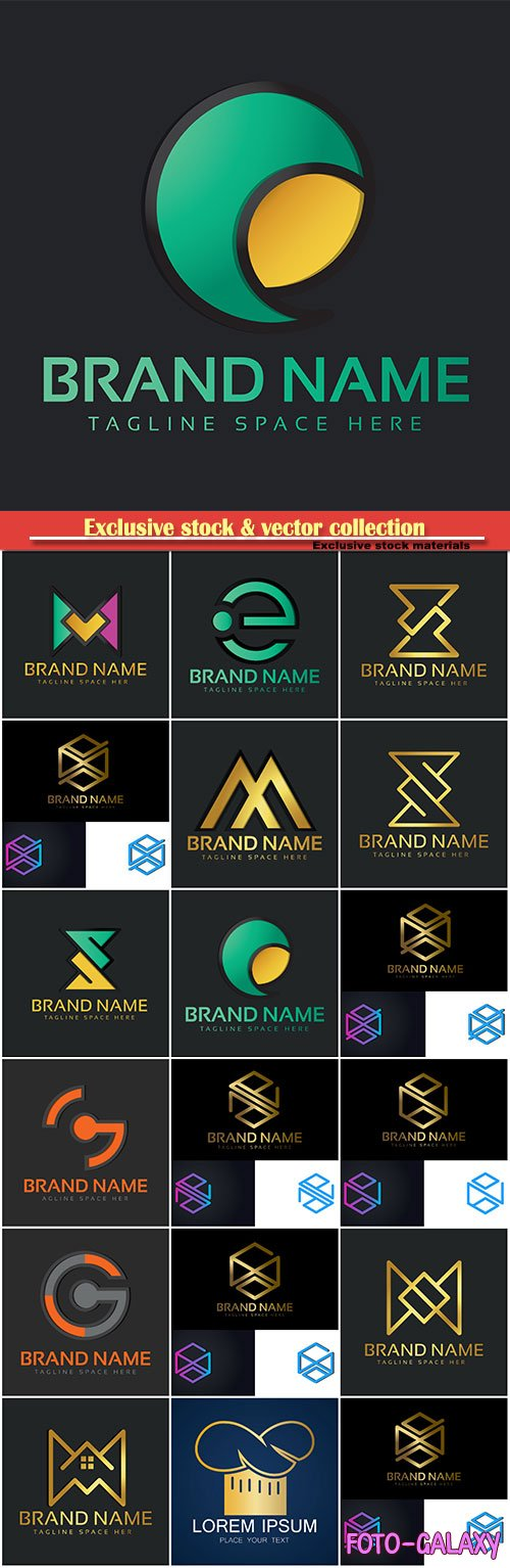 Logo vector template business set # 80