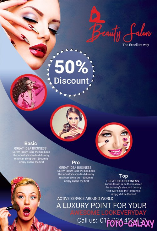 MakeUp Beauty Salon PSD Flyer Template