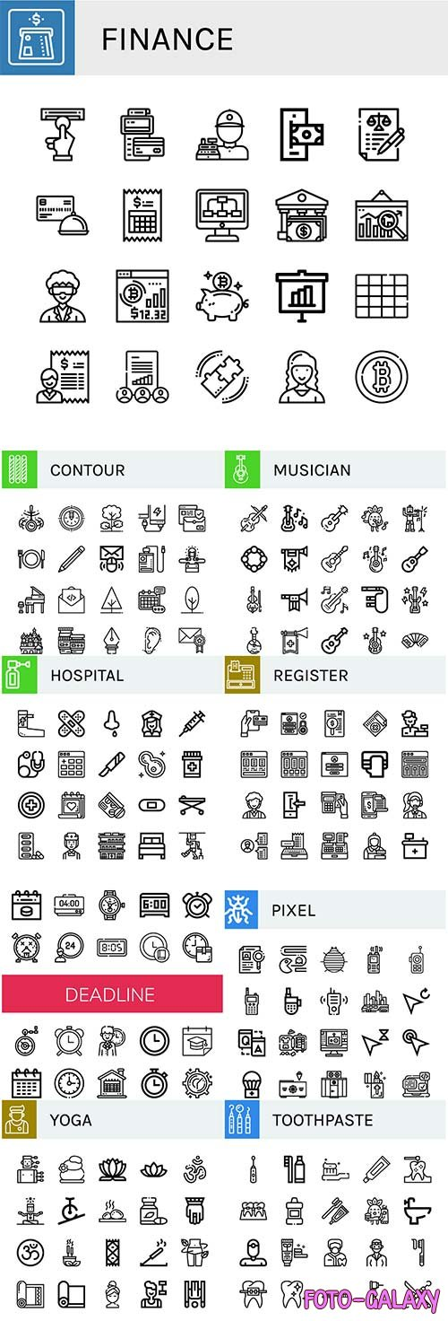 Set of vector icons concept illustration