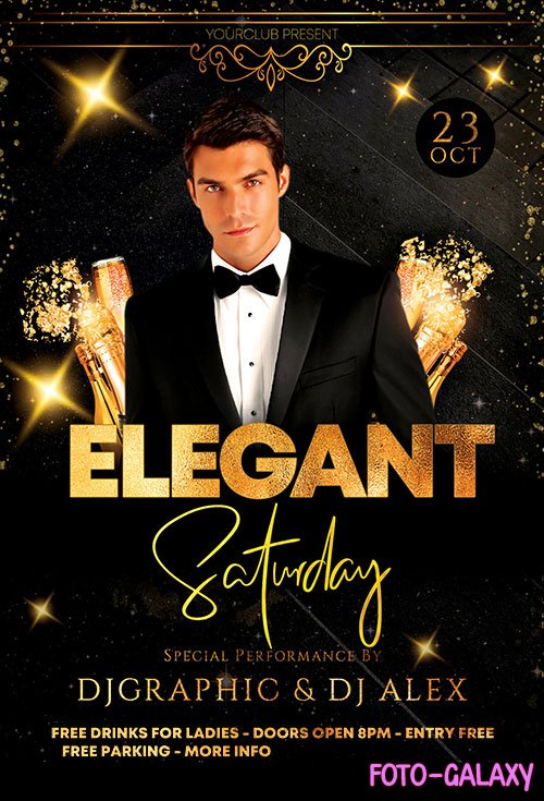 Elegant Saturday Party - Premium flyer psd template