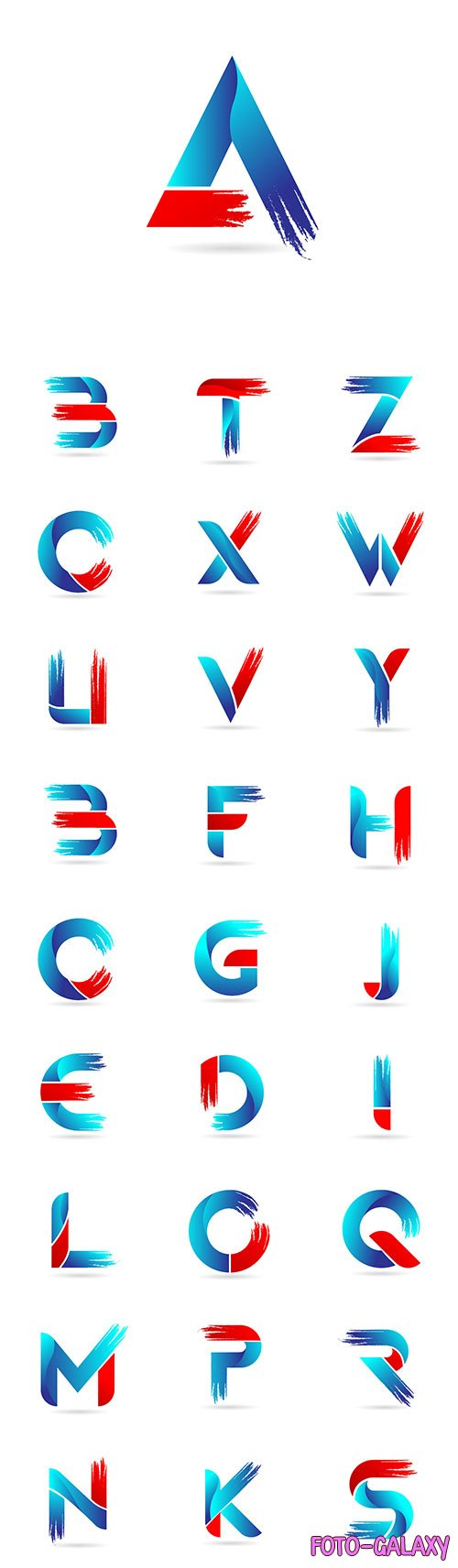 Blue red alphabet letter with grunge brush pattern for company logo icon