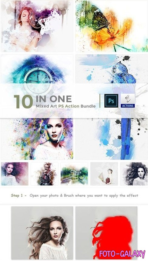 10 in One Mixed Art PS Action Bundle - 23515120