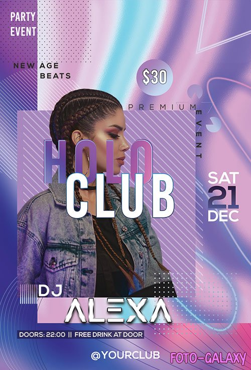 Holo Club - Premium flyer psd template