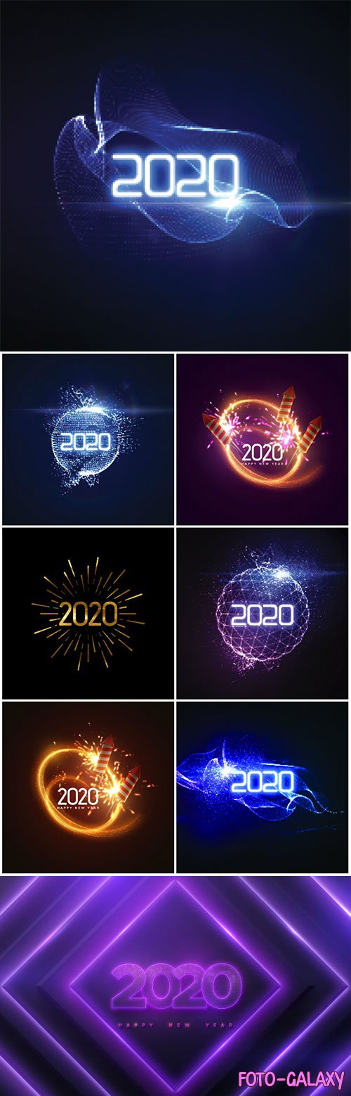 Happy New 2020 Year, numbers on geometric background