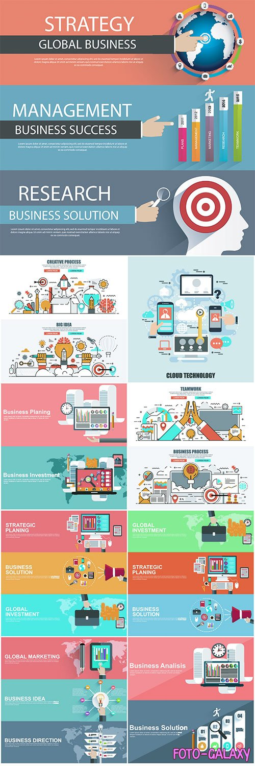 Flat design concepts for business strategy and creative process