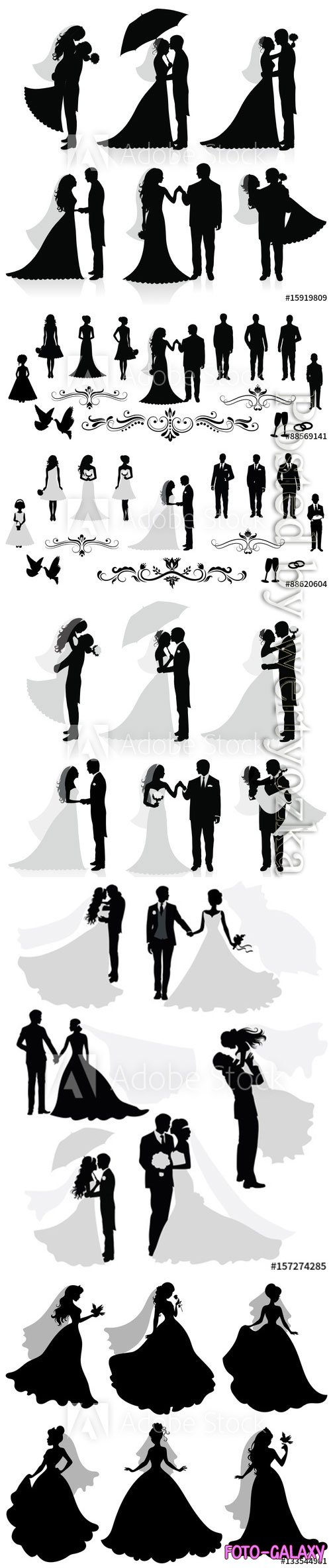 Silhouettes of the bride and groom wedding vector