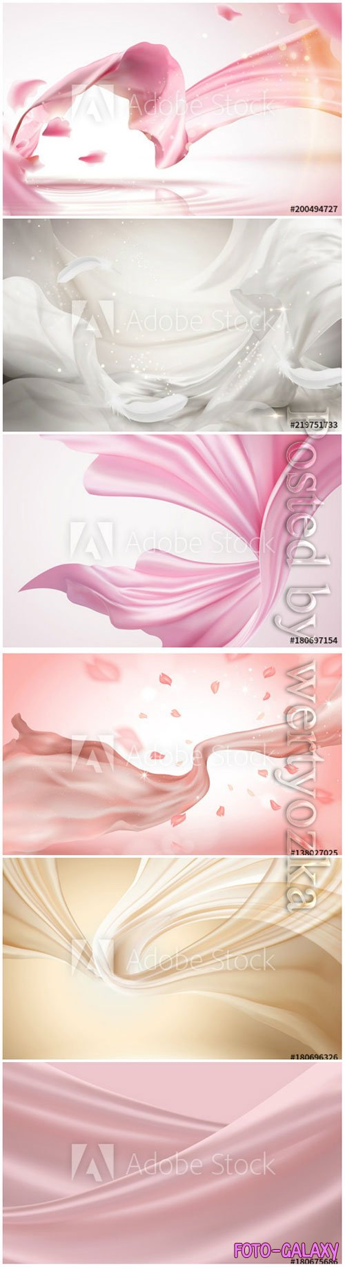 Silky chiffon elements vector illustrations