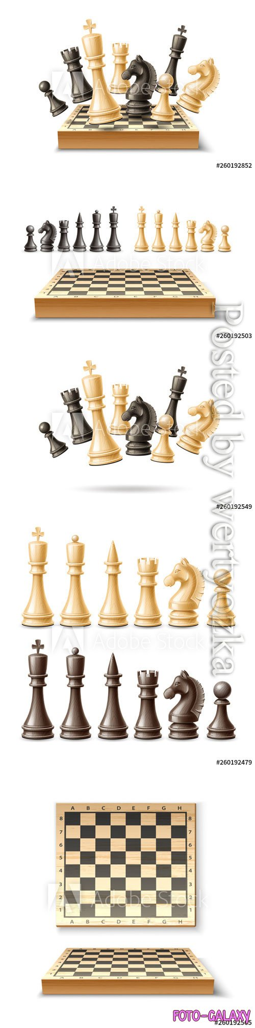 Realistic chess pieces and chessboard set vector illustrations