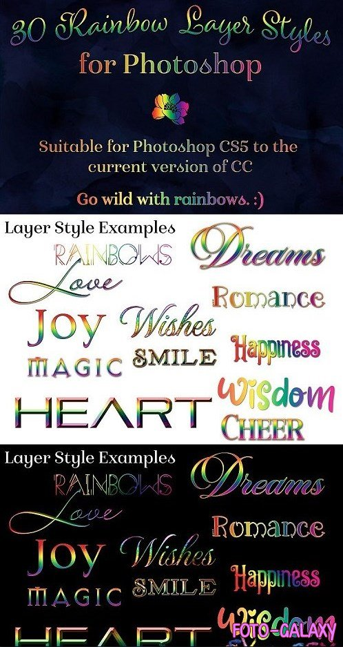 Rainbow Layer Styles - Set of 30 Styles for Photoshop - 445189