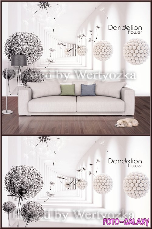 3D psd background wall dandelions abstraction