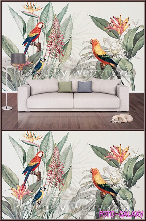 3D psd background wall painted flowers and parrot