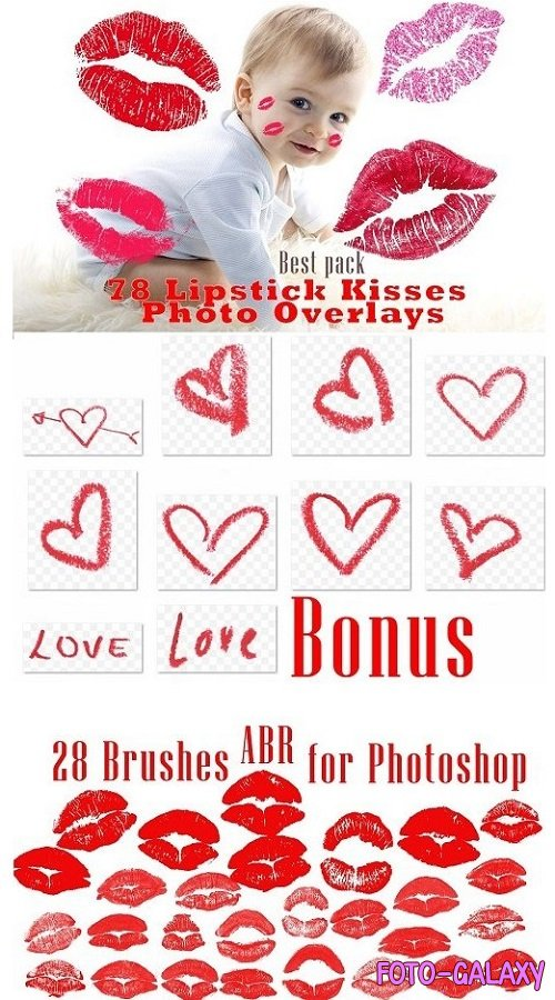78 Kisses photo overlays, lipstick - 4604586