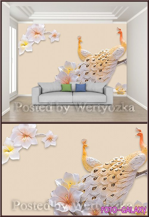 3D psd background wall peacock magnolia