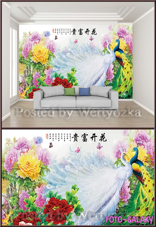3D psd background wall peacock peony flower