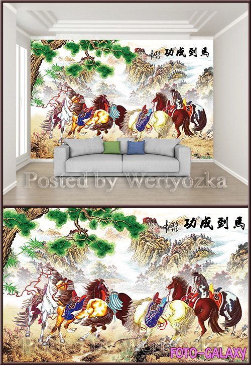 3D psd background wall horse