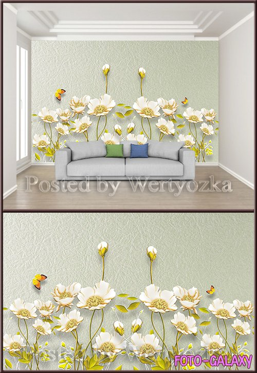 3D psd background wall embossed flowers