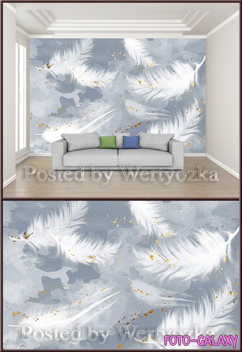 3D psd background wall hand painted fresh nordic style beautiful feather