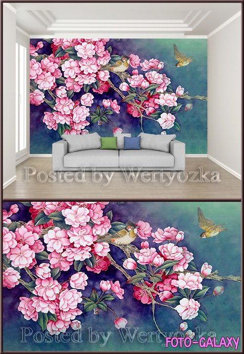 3D psd background wall beautiful hand painted ink bird