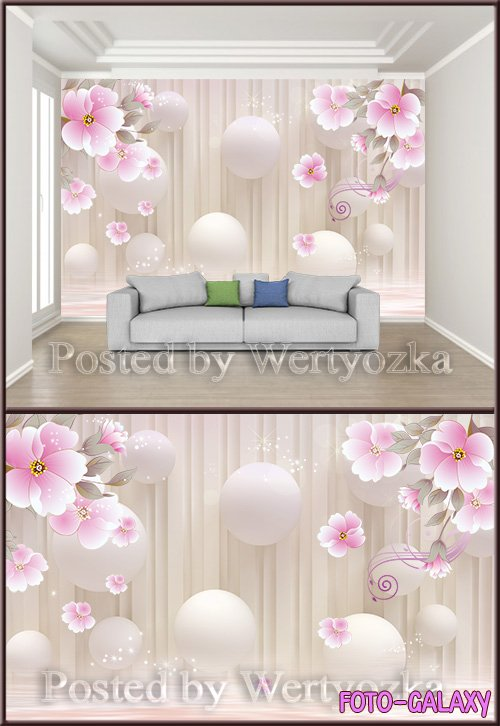 3D psd background wall fashion stereo flower beautiful dream