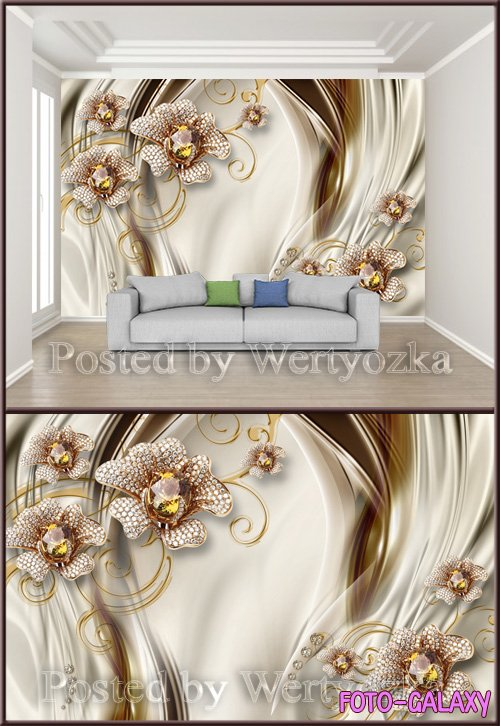 3D psd background wall expensive diamond jewelry flower