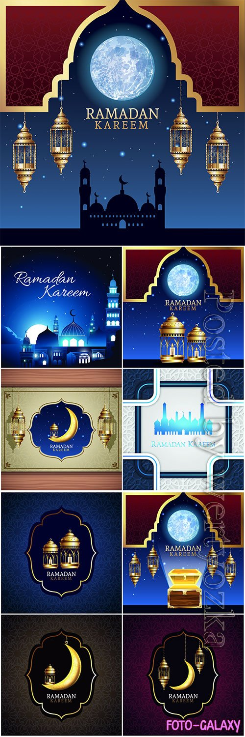 Ramadan kareem celebration with lanterns and moon # 3