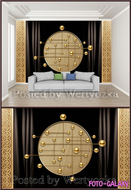 3D psd background wall chinese luxury gold stereo screen line ball